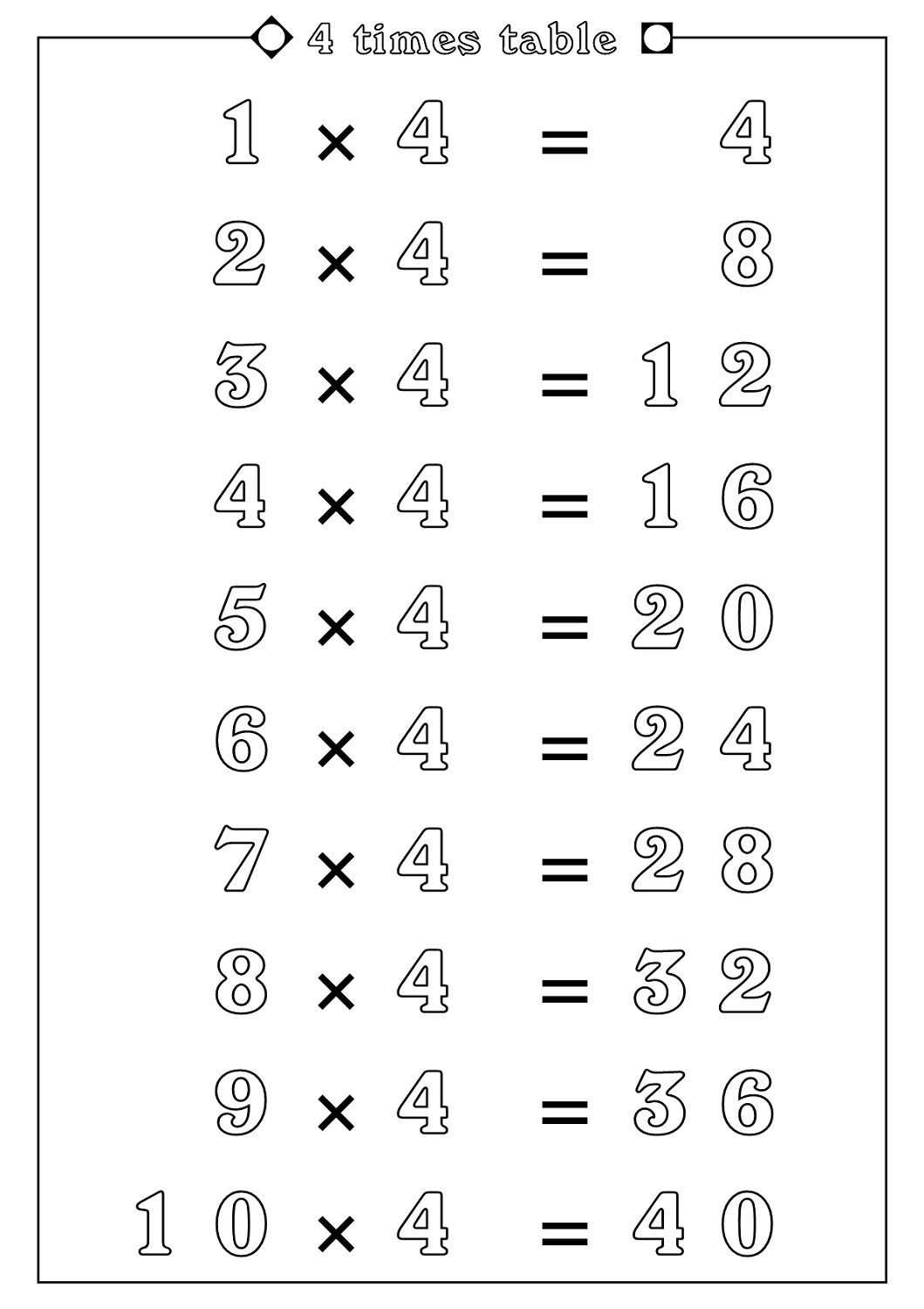 4 times tables worksheets count