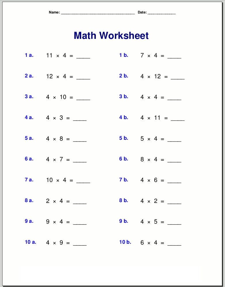 4 times tables worksheets multiplication
