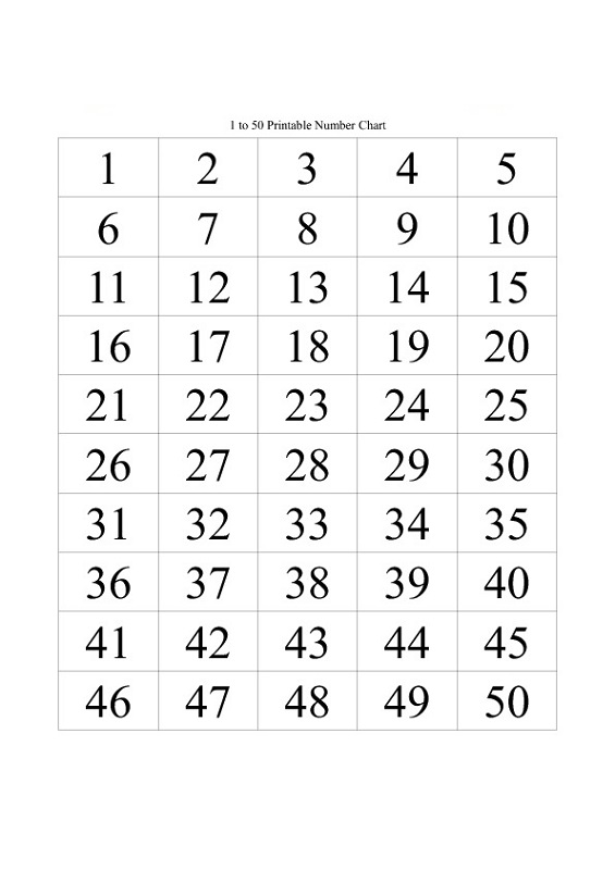 50 number chart easy