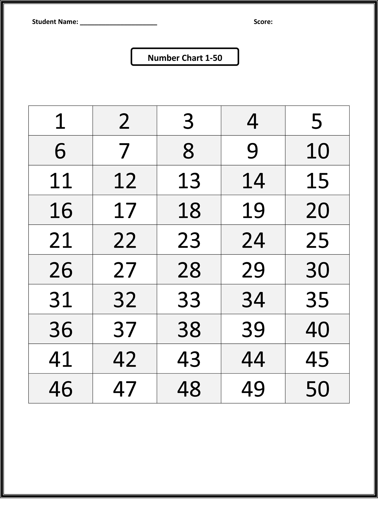 50 number chart simple