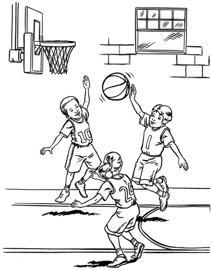basketball color pages playing