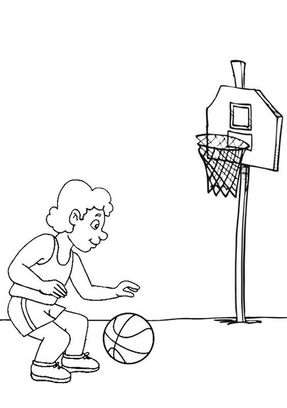 basketball color pages printable
