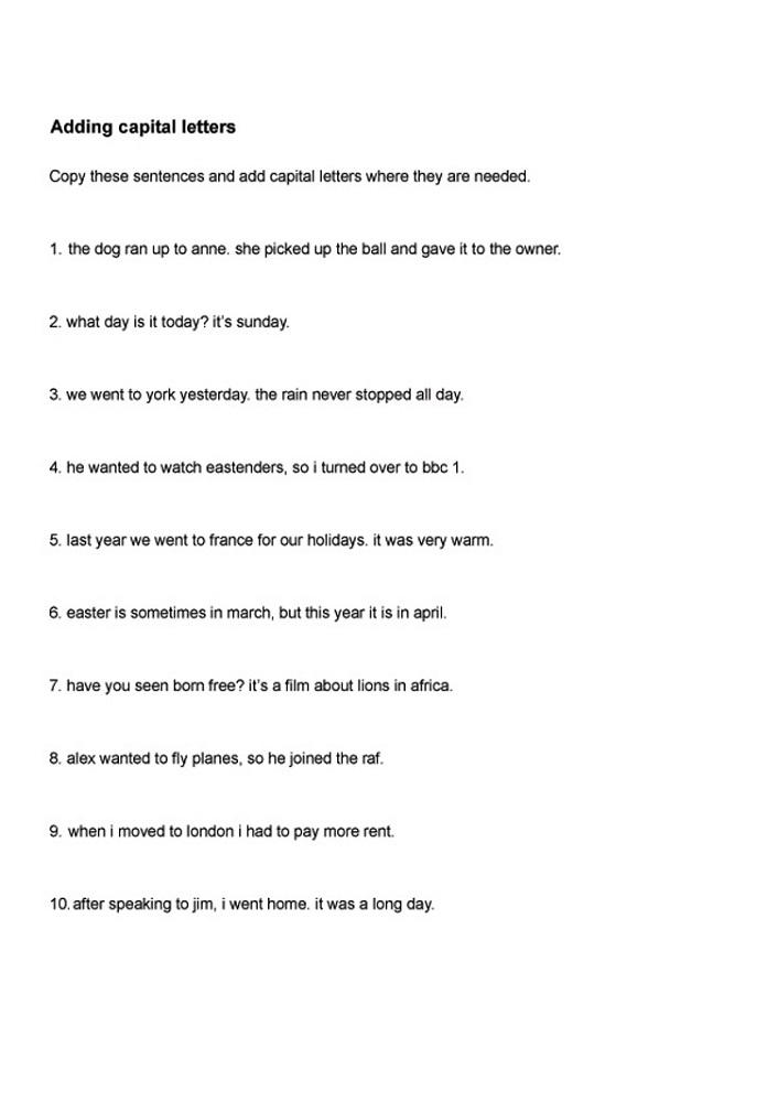 capital letter worksheet sentence