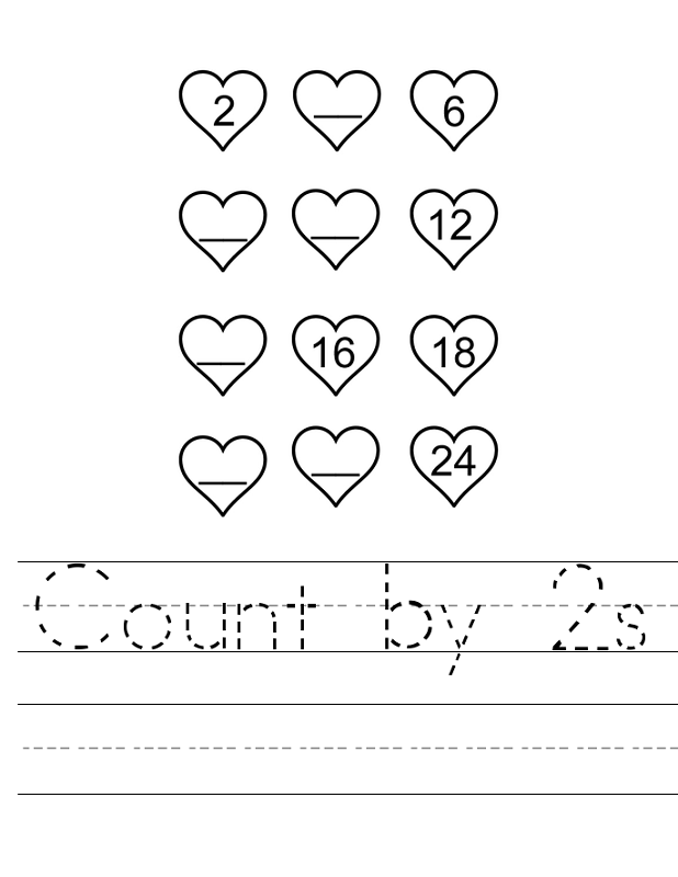 count by 2s worksheet simple