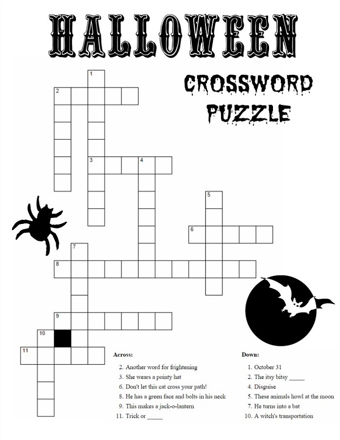 cross word puzzles for kids halloween