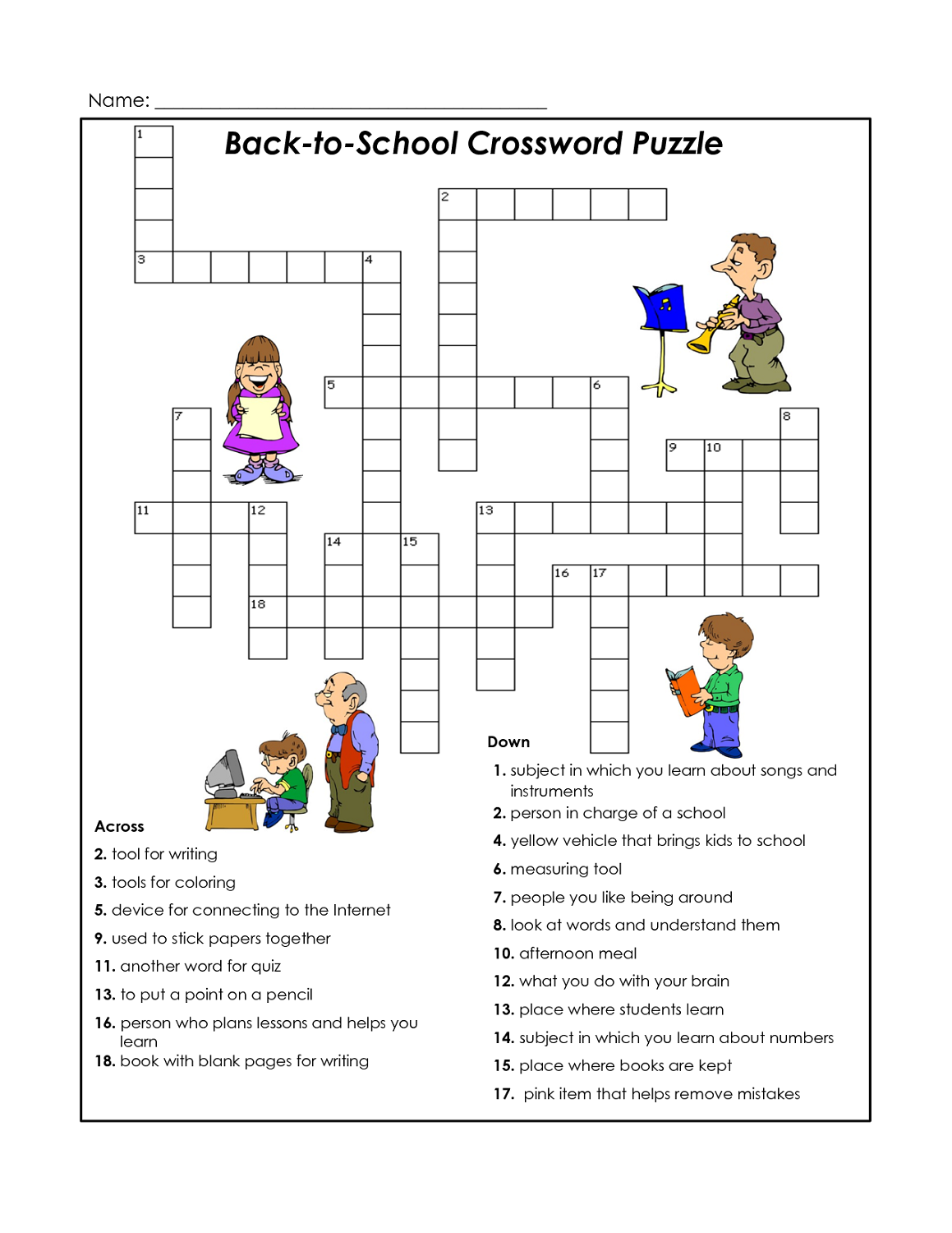 cross word puzzles for kids school