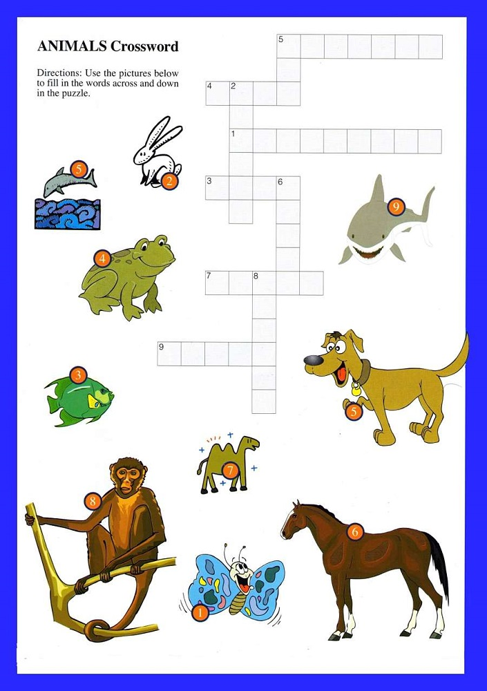 animal crossword puzzles for children
