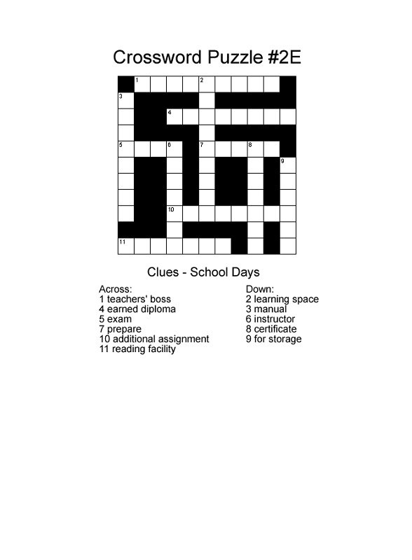 school crossword puzzles for children