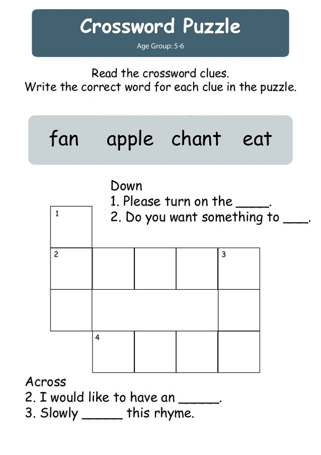 simple crossword puzzles for children