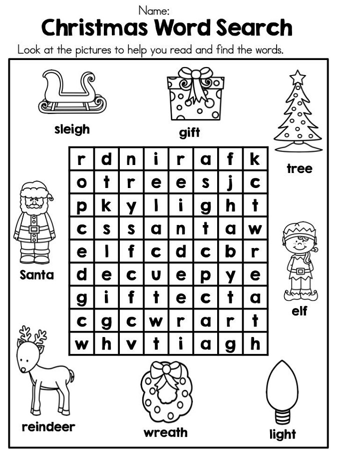 easy word search puzzles christmas