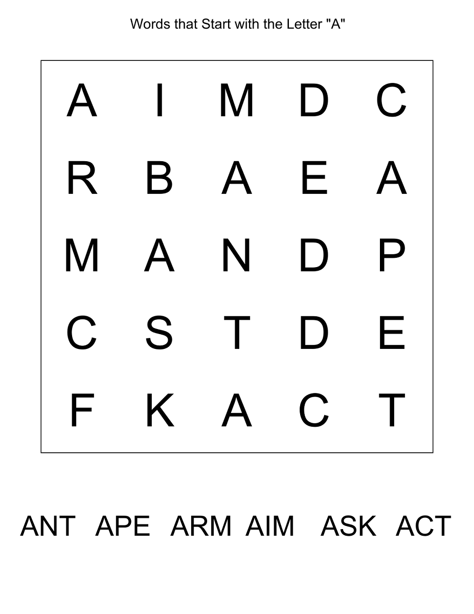 easy word search puzzles letter a