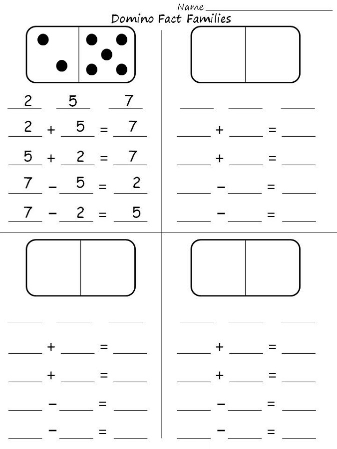 fact families worksheets first grade