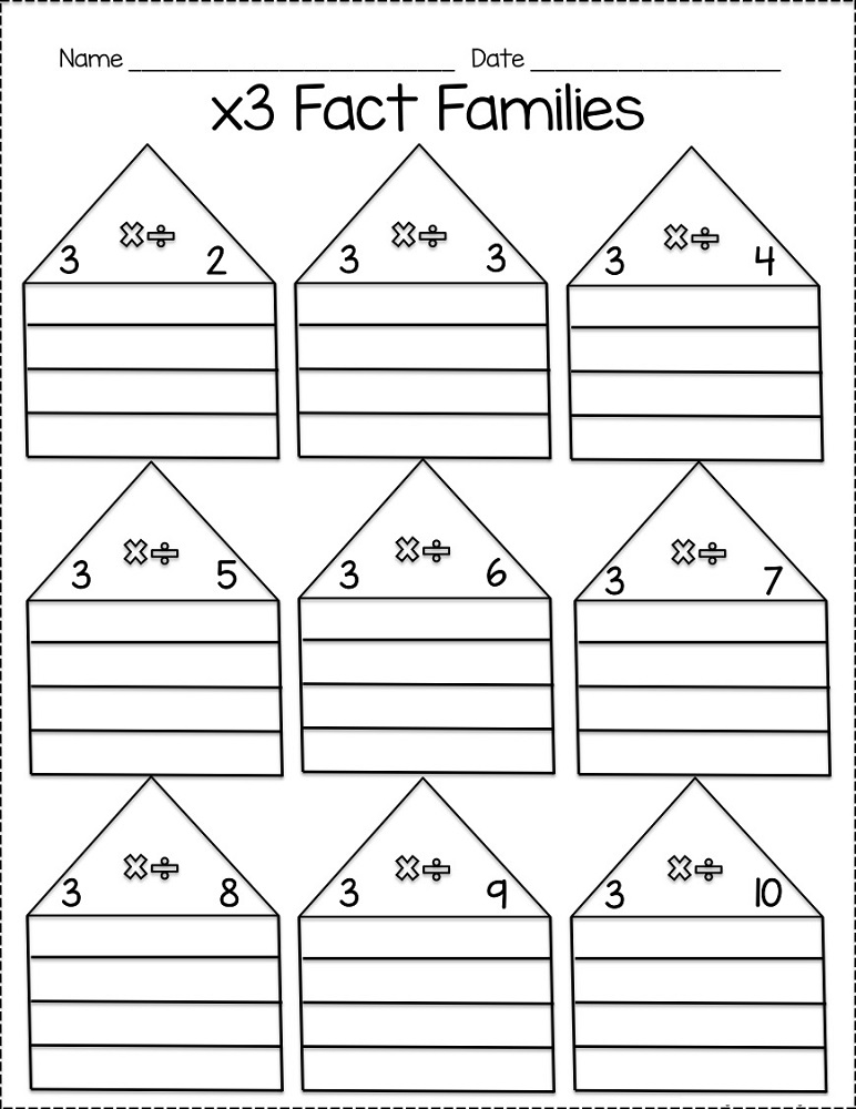 fact families worksheets multiplication