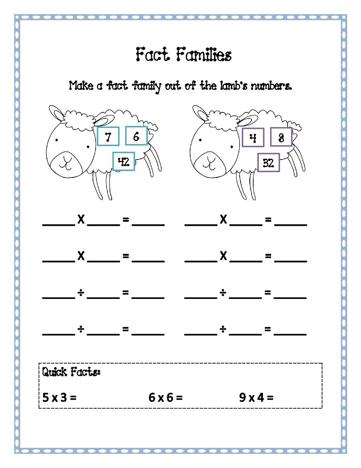 fact families worksheets simple