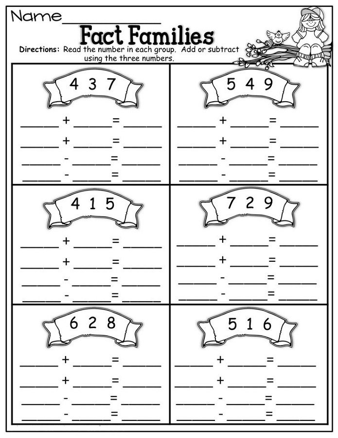 fact family worksheet 1st grade