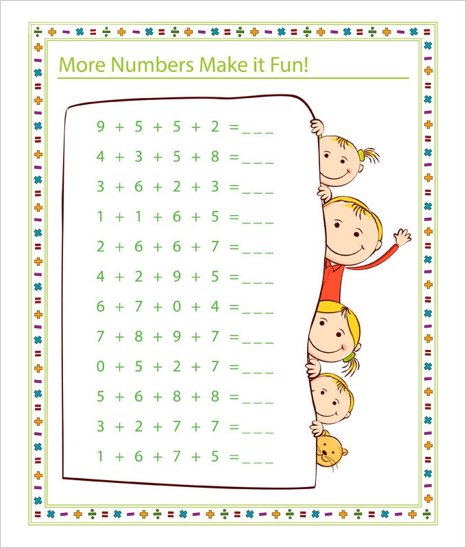 free fun math worksheets addition