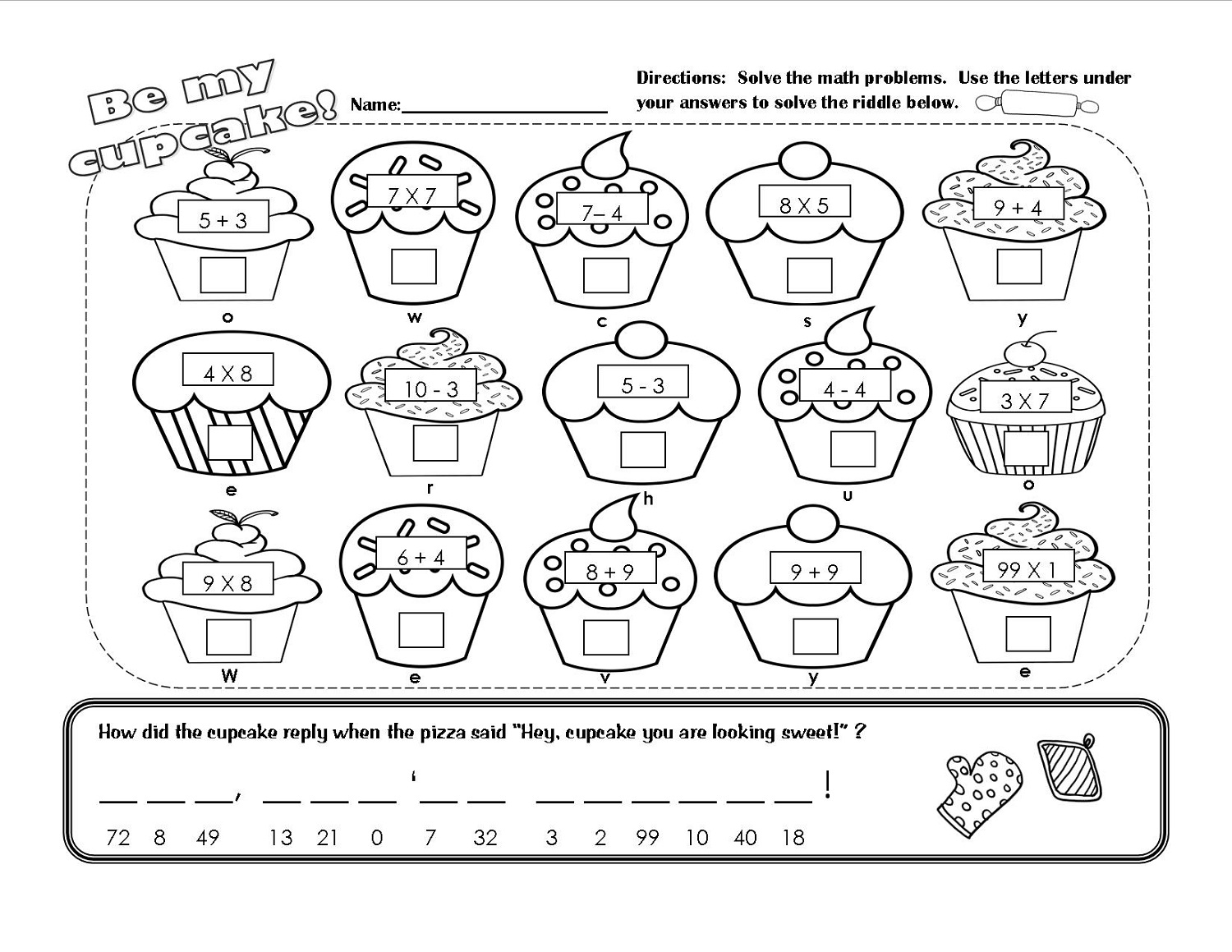 free fun math worksheets cupcake