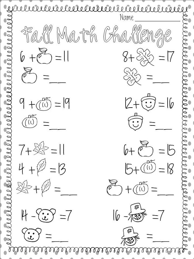 free fun math worksheets fall