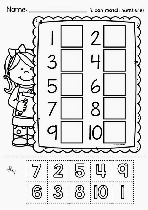 free number worksheets cut paste