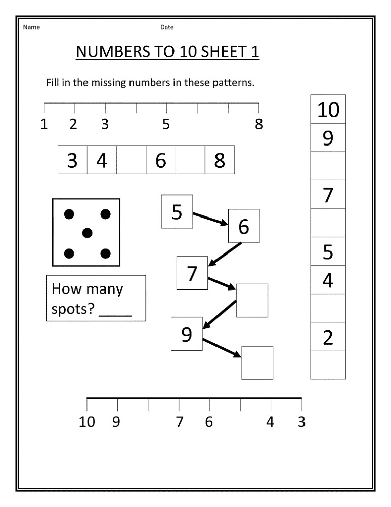 free number worksheets math