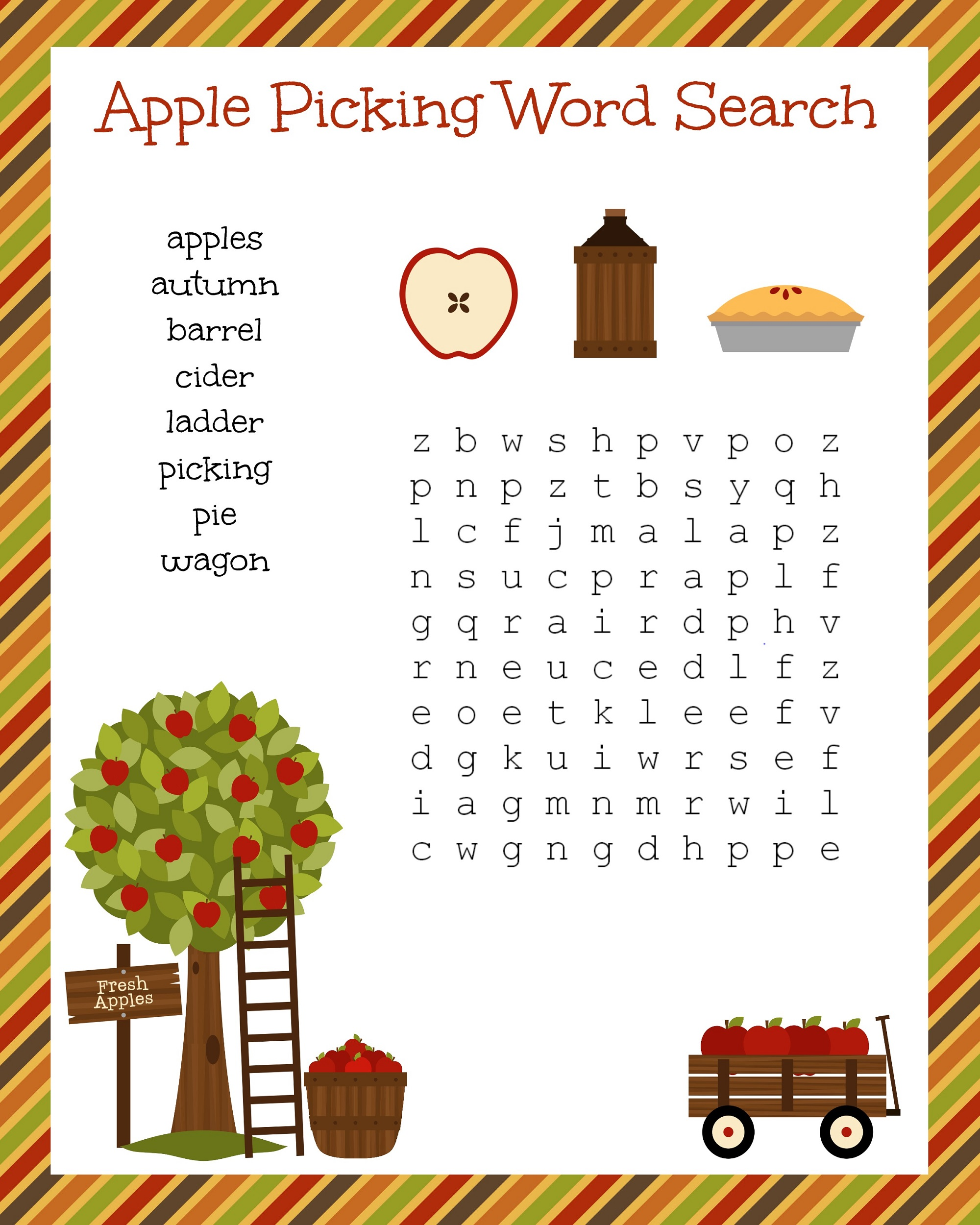 kids word search puzzles apple