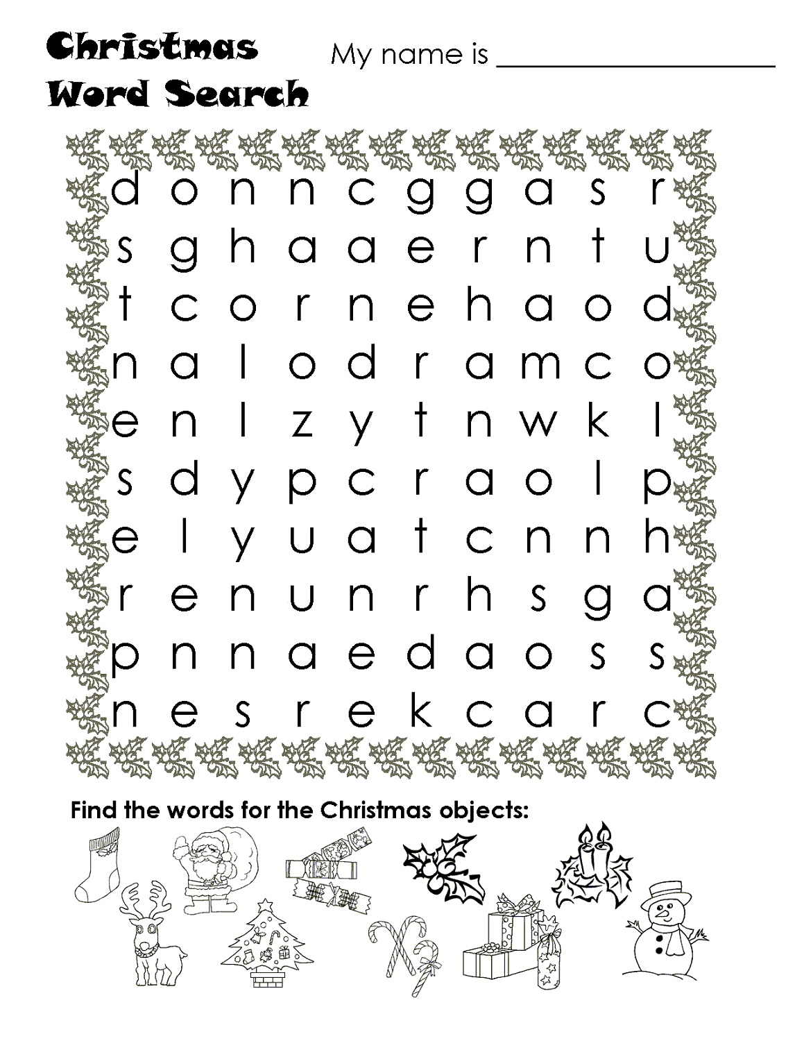 kids word search puzzles christmas