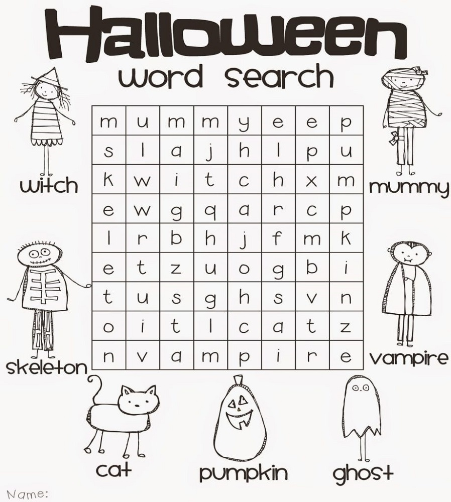 kids word search puzzles halloween