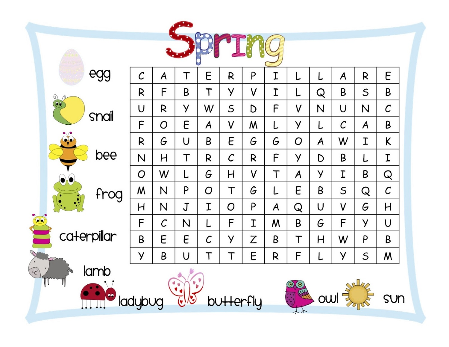kids word search puzzles spring