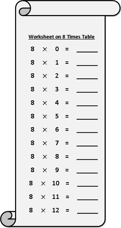 multiply by 8 worksheet free