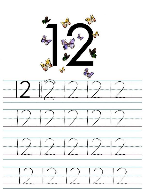 number 12 worksheets for children