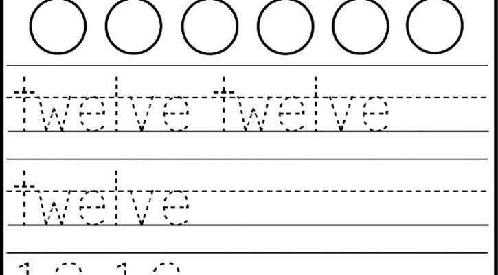 number 12 worksheets for kids