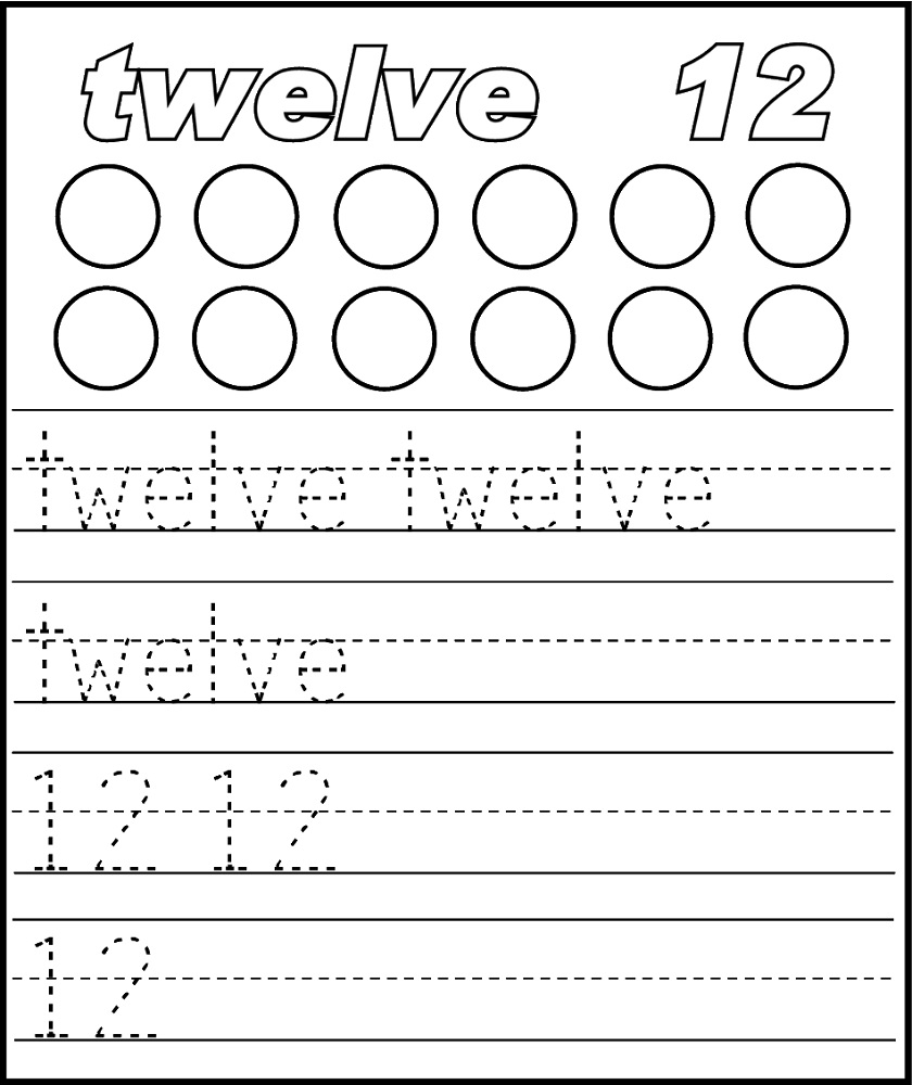 number 12 worksheets for kids