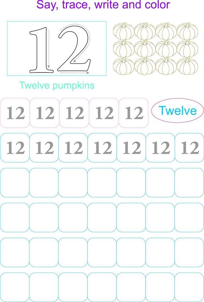 number 12 worksheets free