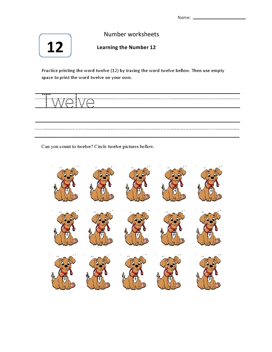 number 12 worksheets pre k