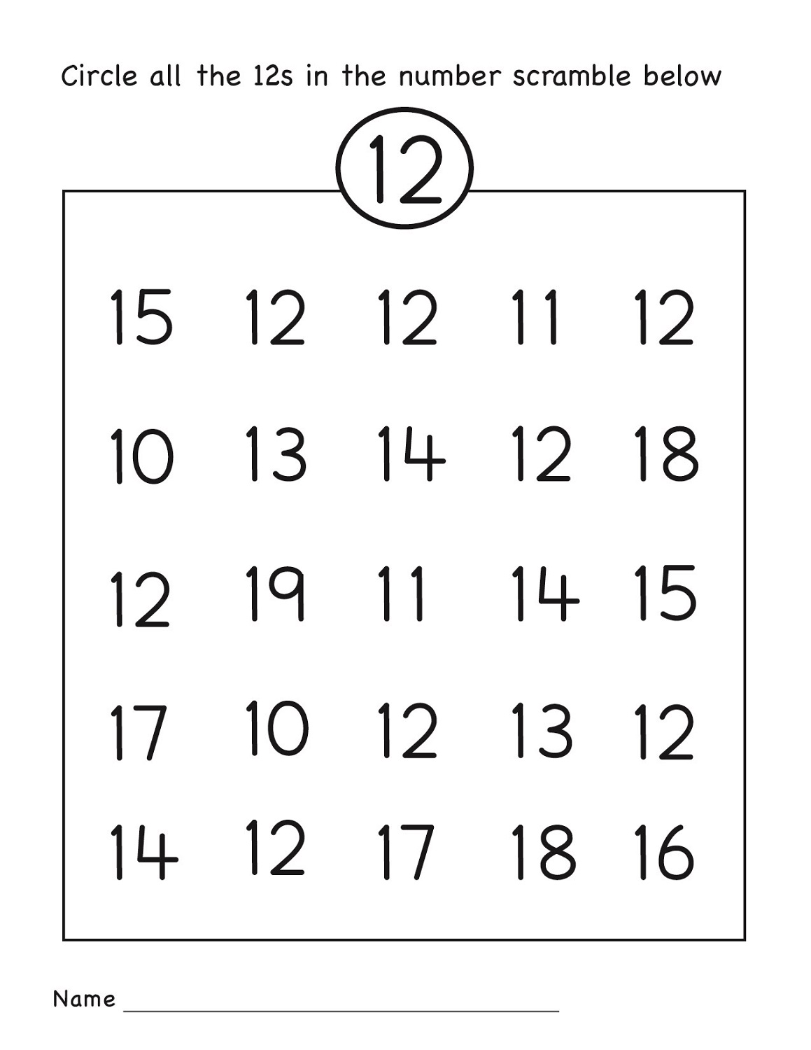 number 12 worksheets preschool