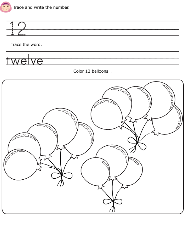number 12 worksheets printable