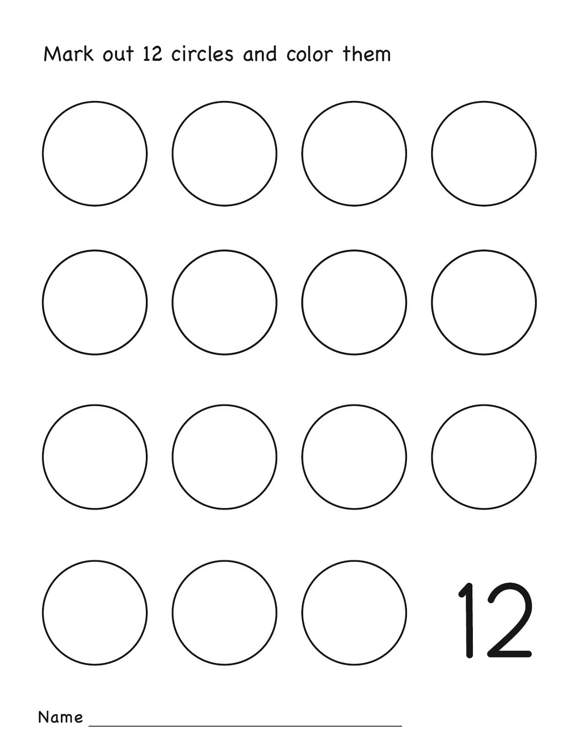 number 12 worksheets to print