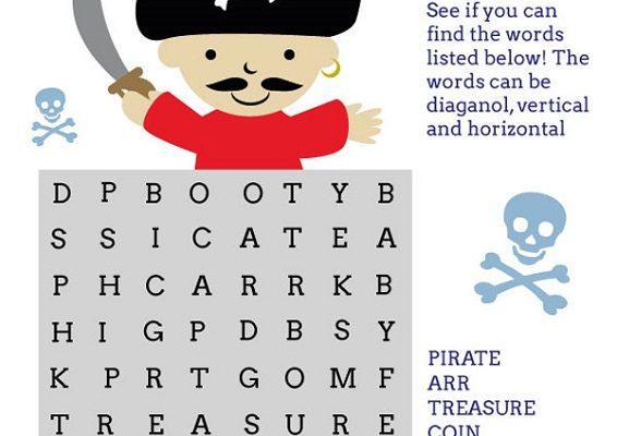 pirate word search cute