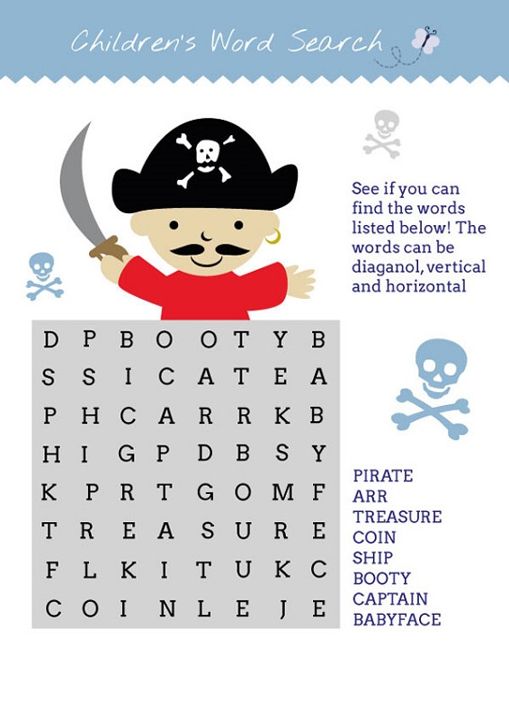 pirate word search cute