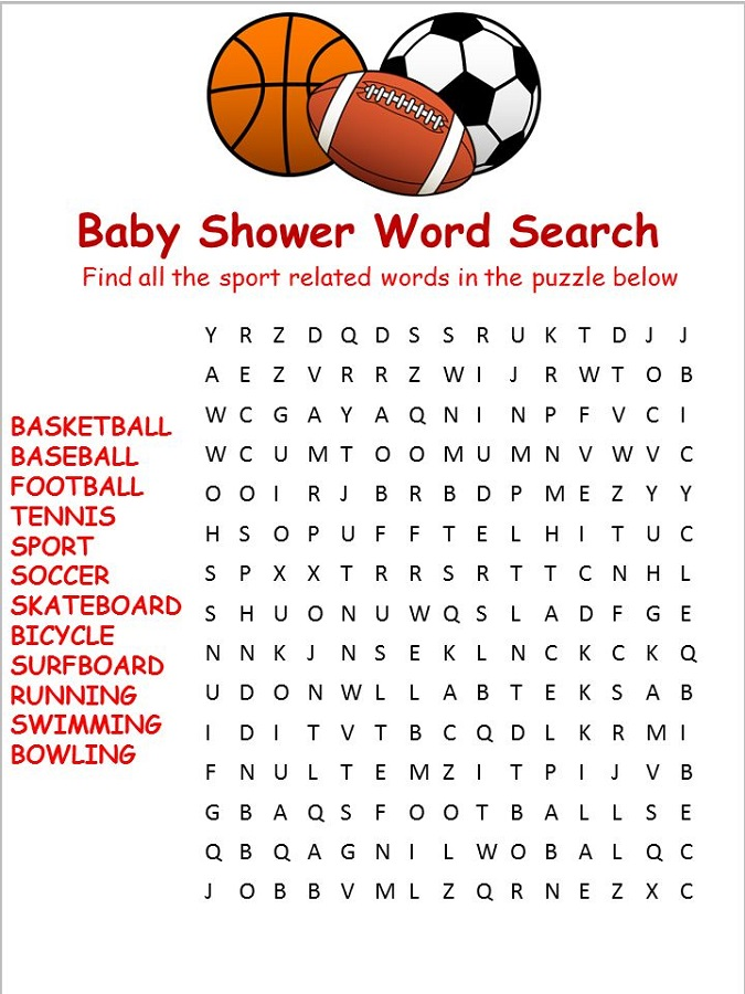 sports word search for kids