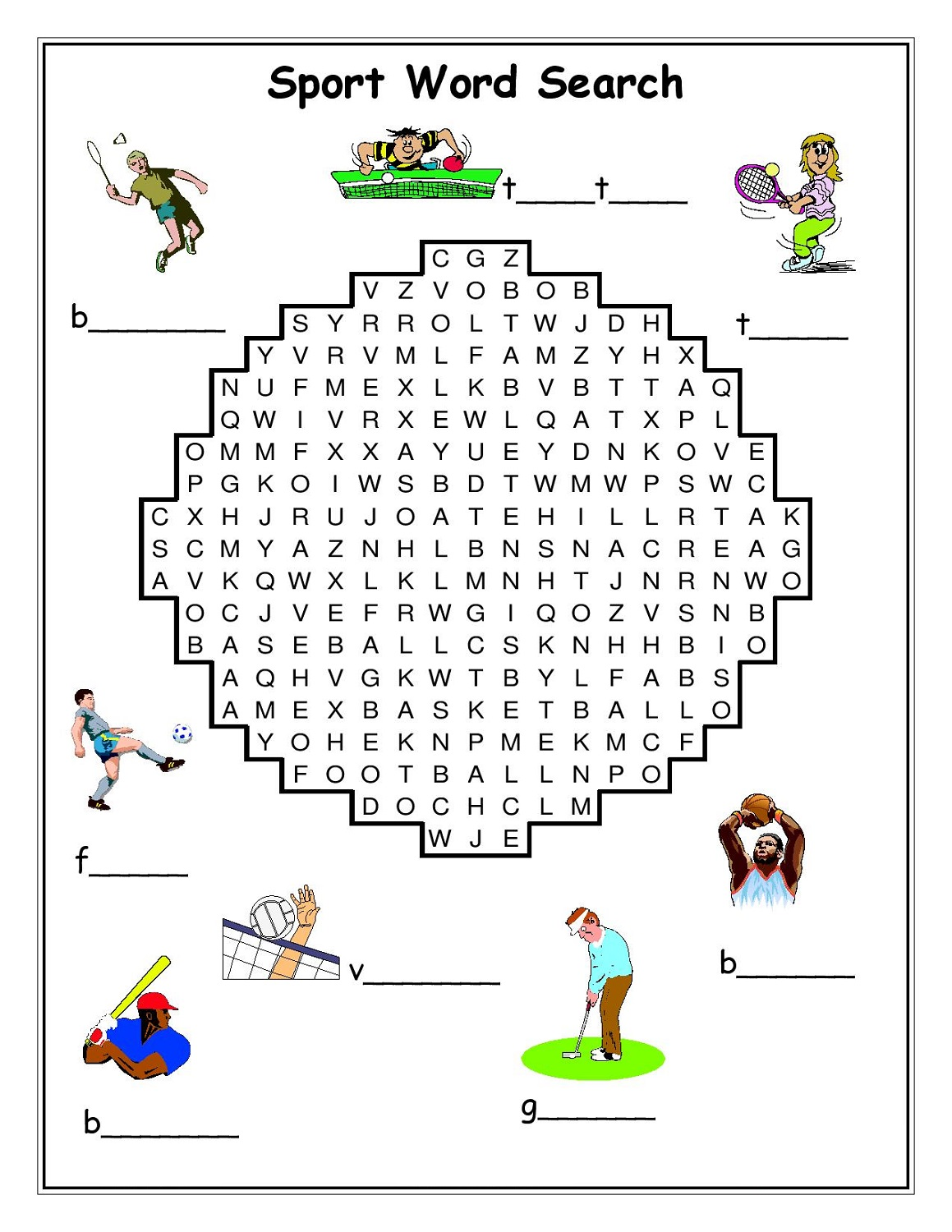 sports word search picture