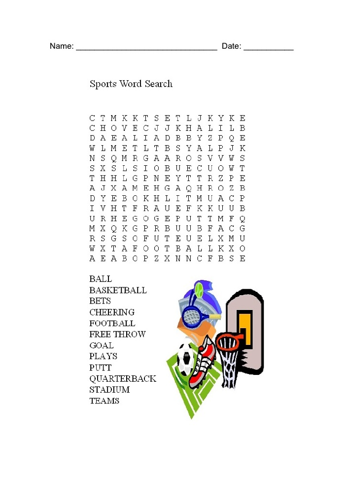 sports word search printable