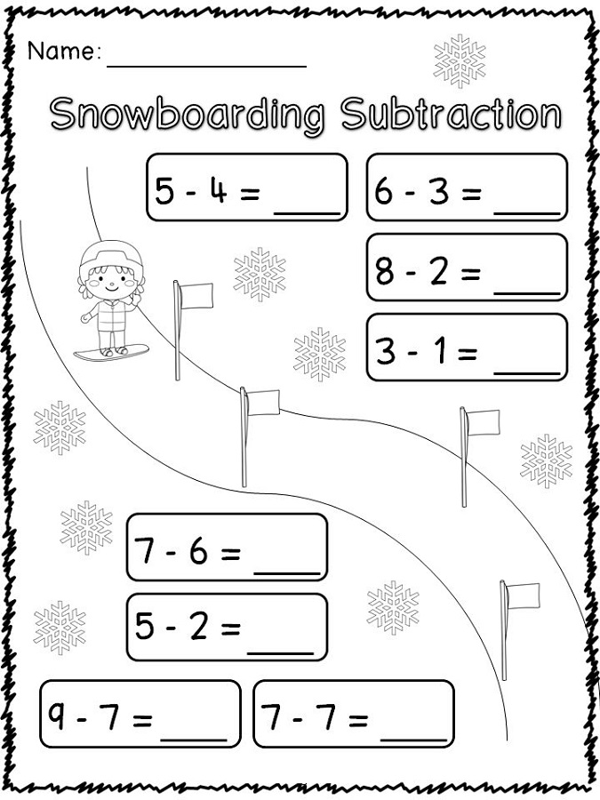 sports worksheets for kids subtraction