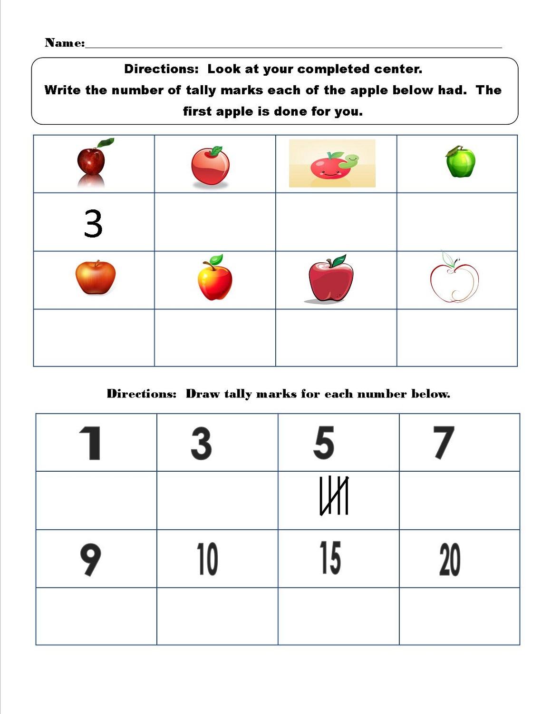 tally mark worksheet fruit