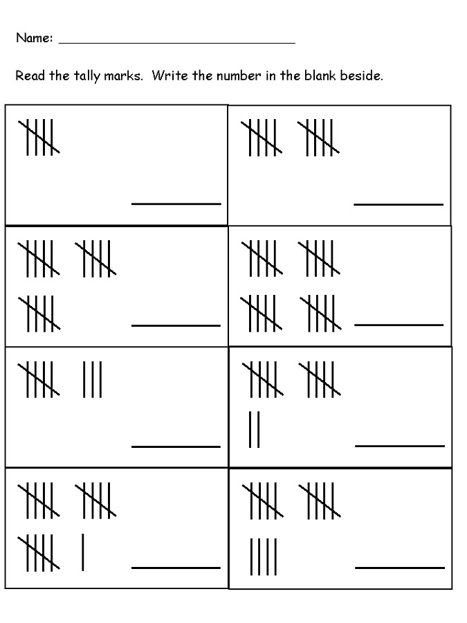 tally mark worksheet simple