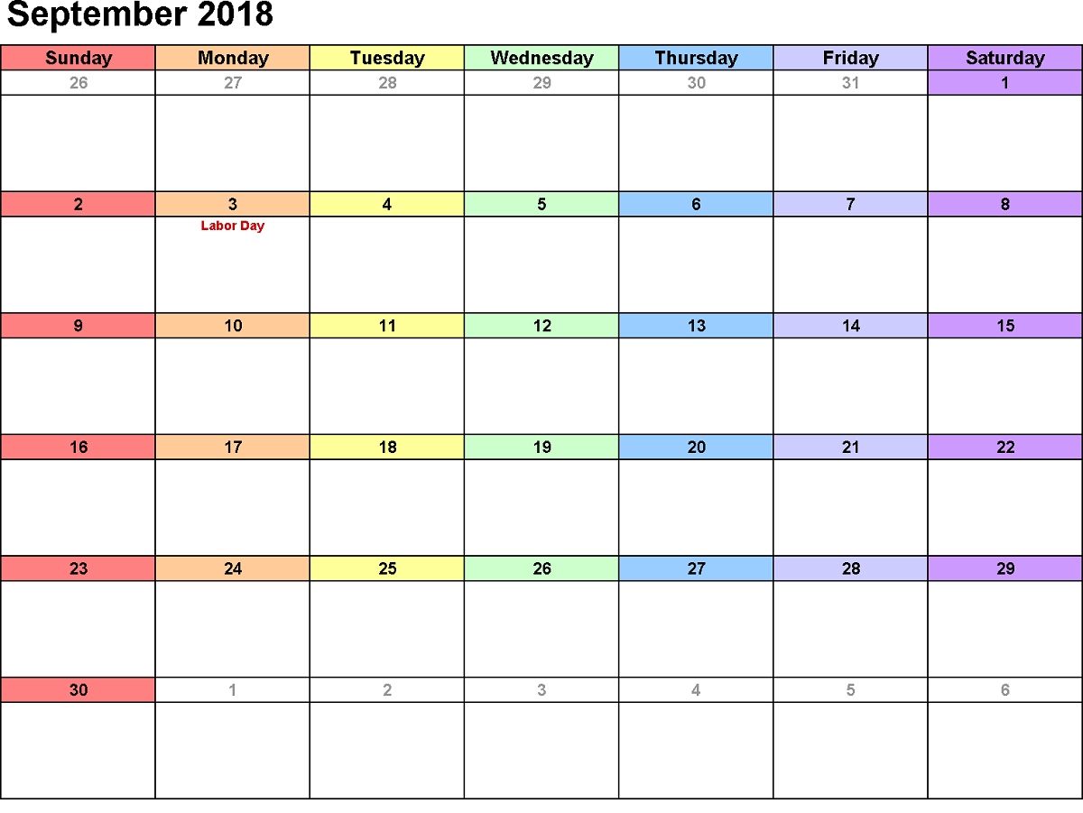 2018 monthly calendar printable colorful