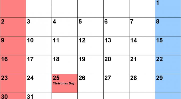 2018 monthly calendar printable december