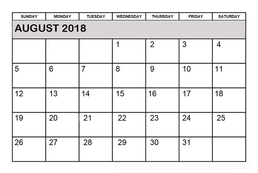 2018 monthly calendar printable free