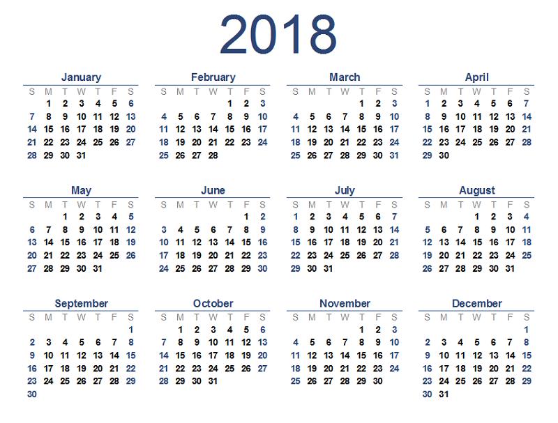 2018 sample calendar free