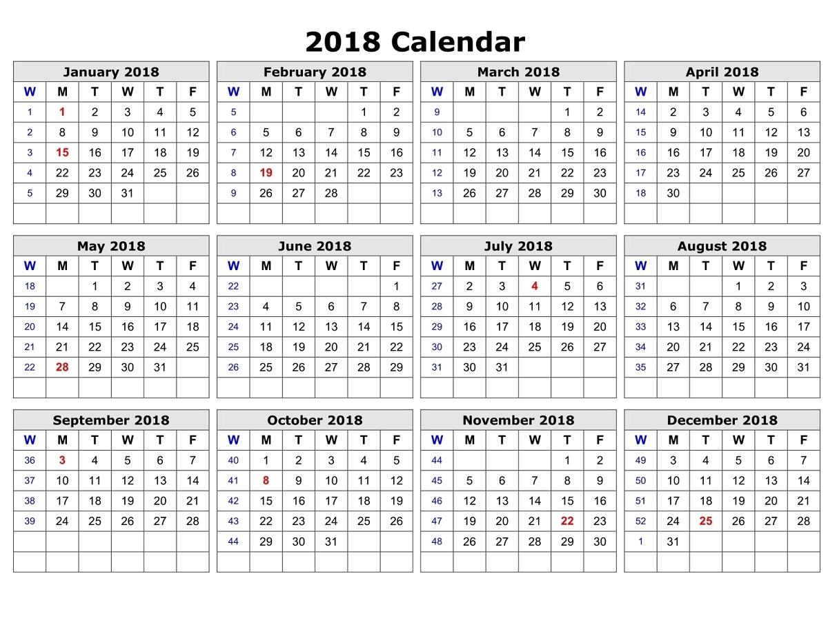 2018 sample calendar simple